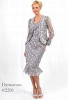 Damianou 3pc Lace Tea Length Mother of the Bride Jacket Dress 2201 image