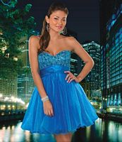Hannah S Strapless Sequin Tulle Short Party Dress 27549 image