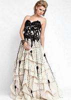 Jovani Lace Corset Overlay Ball Gown 153612 with Pickup Skirt image