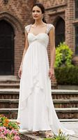 Destinations by Mon Cheri Lace Cap Sleeve Wedding Dress 110136 image