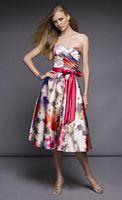 Floral Print Tea Length Mori Lee Affairs Bridesmaid Dress 840 image