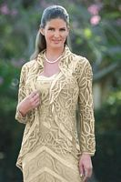 Soulmates Silk Crocheted 2pc Mother of the Bride Jacket Dress D7069 image