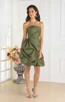 Short Bubble Satin Pretty Maids Bridesmaid Dress 22336 by House of Wu image