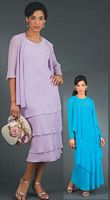 Ursula Petite Plus Size Tea Length Mother of the Bride Dress 21143W image