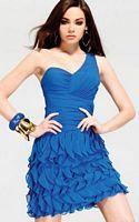 Faviana Glamour One Shoulder Ruffle Chiffon Cocktail Dress S6849 image
