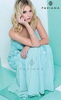 Size 10 Plum Faviana S7150 Glamour Spaghetti Strap Evening Dress image