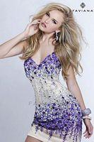 Faviana S7157 Glamour Beaded Jewel Cocktail Dress image
