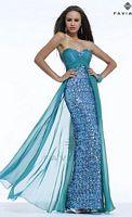 Faviana S7392 Glamour Sheer Overlay Evening Dress image