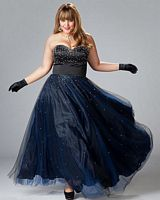 Sydneys Closet Plus Size Strapless Prom Dress with Lace-Up Back SC3018 image