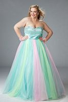 Sydneys Closet Plus Size Glitter Tulle Prom Ball Gown SC3024 image