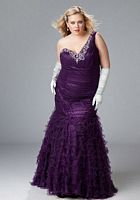 Sydneys Closet Plus Size Ruffle One Shoulder Prom Dress SC3031 image