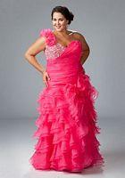 Sydneys Closet Plus Size Ruffle One Shoulder Prom Dress SC3032 image