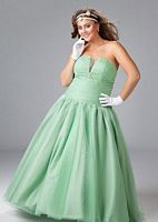 Sydneys Closet Plus Size Strapless Tulle Ball Gown for Prom SC3033 image