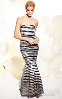 Terani Beaded Stripe Mermaid Prom Dress T818 image