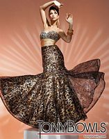Tony Bowls Evenings Leopard Tulle over Charmeuse Gown TBE11262 image