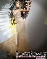 Tony Bowls Evenings Gold Sequin Chiffon Sheath Gown TBE11263 image