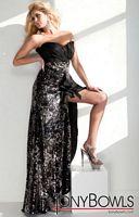 Tony Bowls Evenings Black Sequin Taffeta Evening Dress TBE21102 image