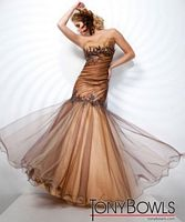 Tony Bowls Evenings Copper Mermaid Tulle Overlay Dress TBE21106 image
