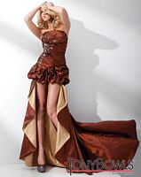 Tony Bowls Evenings Brown Taffeta Strapless Evening Dress TBE21109 image