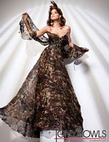 Tony Bowls Evenings Black Gold Print Silk Chiffon Slim Gown TBE21110 image