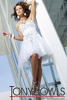 Tony Bowls Shorts White Appliqued Tulle Party Prom Dress TS11251 image