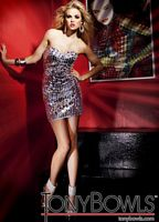 Tony Bowls Shorts Silver Sequin Crystal Cocktail Prom Dress TS11252 image