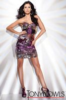 Tony Bowls Shorts Black Multi Sequin Cocktail Dress TS21101 image