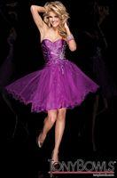 Tony Bowls Shorts Purple Taffeta and Tulle Short Party Dress TS21102 image