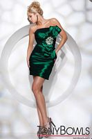 Tony Bowls Shorts Pleated Cocktail Dress with Bows TS21105 image