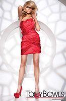 Tony Bowls Shorts Red Satin Pleated Cocktail Dress TS21108 image