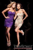 Tony Bowls Shorts Strapless Chiffon Cocktail Dress with Shawl TS21109 image