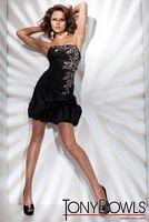 Tony Bowls Shorts Black Draped Taffeta Cocktail Dress TS21110 image