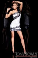 Tony Bowls Shorts White Taffeta Cocktail Dress with Sequins TS21111 image
