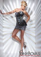Tony Bowls Shorts Silver Fan Cocktail Dress with Crystals TS21112 image