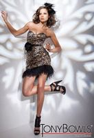 Tony Bowls Shorts Black Brown Cocktail Dress with Feathers TS21113 image
