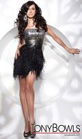Sequins and Feathers Tony Bowls Shorts Cocktail Dress TS21143 image