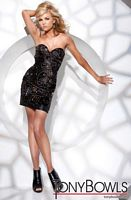 Tony Bowls Shorts Black Jeweled Satin Cocktail Dress TS21145 image