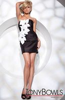 Tony Bowls Shorts Black and White Cocktail Dress with Flowers TS21147 image