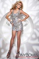 Tony Bowls Shorts Silver Beaded Chiffon Cocktail Dress TS21148 image