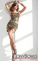 Tony Bowls Shorts Black and Gold Sequin Cocktail Dress TS21150 image
