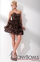 Tony Bowls Shorts Brown Pickup Skirt Dress with Flowers TS21151 image