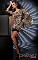 Tony Bowls Shorts Leopard Print One Shoulder Cocktail Dress TS21200 image