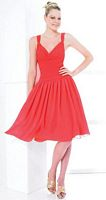 Val Stefani Knee Length Chiffon Drop Waist Bridesmaid Dress VS9125 image