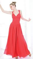 Val Stefani Long Chiffon Bridesmaid Dress with Shoulder Straps VS9126 image